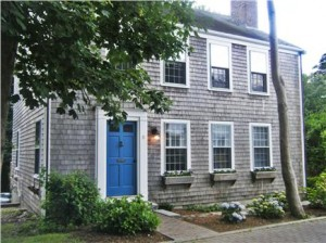 An eye catching blue door on this Nantucket Rental