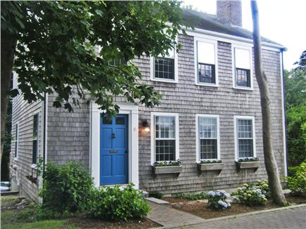 An eye catching blue door on this Nantucket Rental