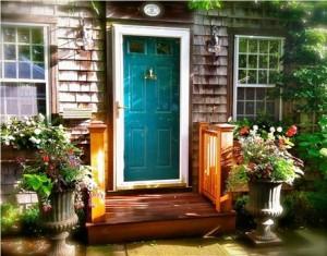 A welcoming front door on this Nantucket vacation rental
